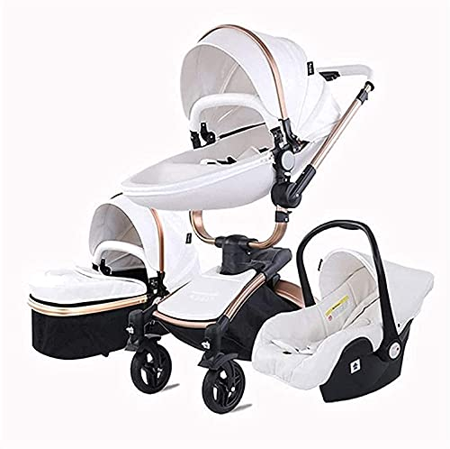 Kombi Kinderwagen, 360-Grad-Rotation, Eierschalen-Design, faltender Zwei-Wege-Leichter Kinderwagen, Faltbarer Kinderwagen, einstellbares Dach, Lagerkorb, WQQWQQ-8521.