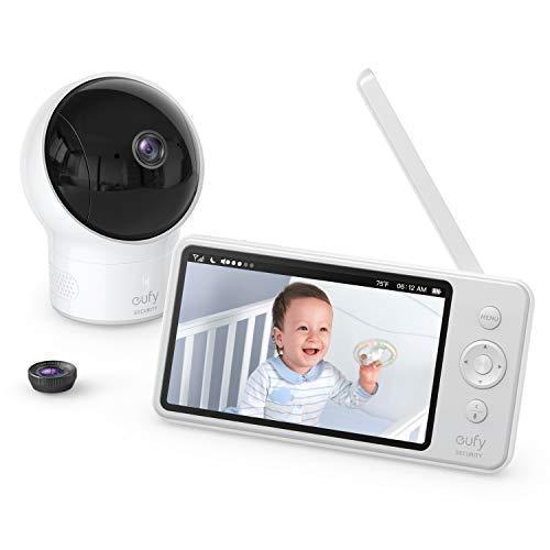eufy Security SpaceView Babyphone, 5 Zoll LCD-Display, 720 HD, 140M Reichweite, Weitwinkelobjektiv, präzise Nachtsicht, beidseitige Autofunktion, 2900mAh Akku, Temperatursensor (Generalüberholt)