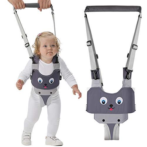 Lauflernhilfe Gehhilfe für Baby, KNMY Baby Stehen und Gehen Lernen Helfer mit Sicherheitsverschluss und Magischen Aufklebern,4 in 1 Funktionale mit zwei Schnullerkettten für Kinder 8-24 Monthe