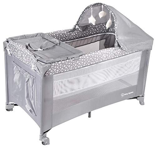 Moby-System, 2 in 1 Reisebett & Laufstall Spiel für Baby/2 Matratzen (oben 0 – 6 Monate, unten 6 – 36 Monate), faltbar, Transporttasche, Grau