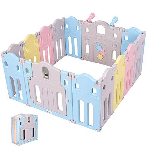 Baby Laufstall Laufgitter, Faltbar 14-Paneele Schutzgitter aus Kunststoff, mit Sicherheitstürschloss Spielzeugboard 360°Spielzeug-Teleskop, Krabbelgitter Absperrgitter für Baby und Kleinkind