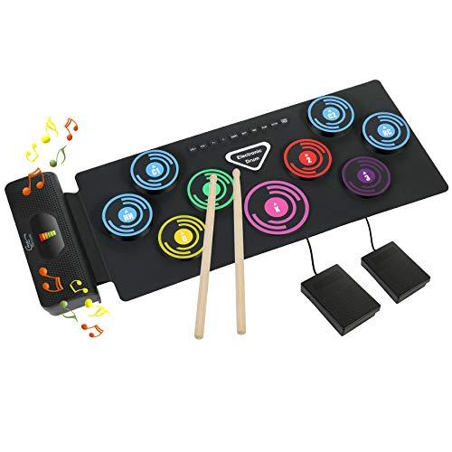 Elektronisches Schlagzeug Kit 9 Pads Tragbare Roll Up Midi Tabletop E-Drum Schlagzeug Set mit Eingebautem Lautsprecher Drum DTX Fußpedal Drumsticks für Kinder Anfänger