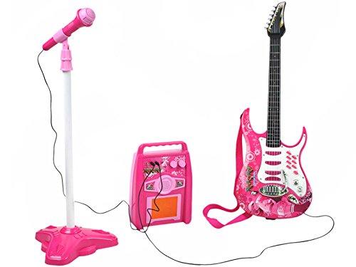 ISO TRADE E-Gitarre + Verstärker + Mikrofon mit Ständer Rosa Set für Mädchen Batteriebetrieben 4709