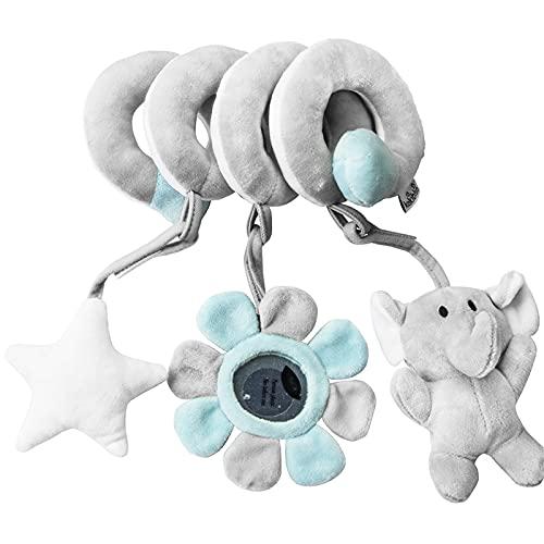 RAILONCH Aktivität-Spirale Kette, Tier / Stoff-Spirale zum Greifen und Fühlen für Bett, Kinderwagen, Laufgitter anpassbar, Für Babys und Kleinkinder ab 0+ Monate (Grauer Elefant)