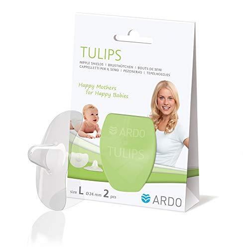 Ardo Tulips Brusthütchen aus Silikon – Größe L – Hauchzartes BPA-freies Stillhütchen für schmerzende Brustwarzen beim Stillen – Erleichtert die Ernährung des Babys mit Muttermilch – 24mm