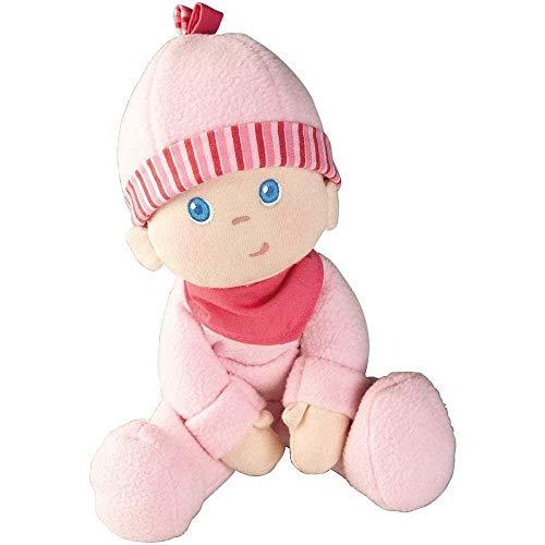 Haba 2618 - Kuschelpuppe Luisa, weiche Stoffpuppe, für Babys ab 0 Jahren, mit Strampelanzug aus flauschigem Fleece, ideales Geschenk zur Geburt oder Taufe