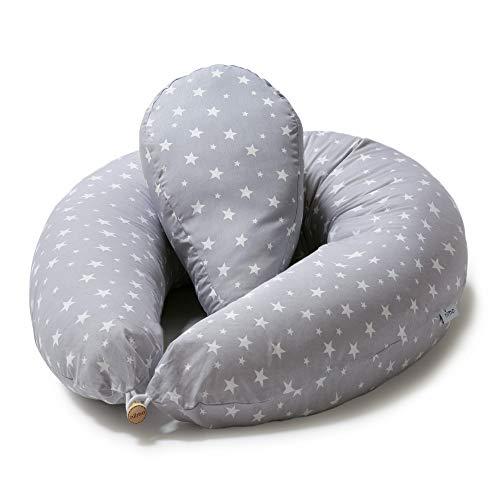 Niimo Stillkissen Seitenschläferkissen Schwangerschaftskissen mit Klein Kissen zum Schlafen Lagerungskissen mit externer Kissenbezug aus 100% Baumwolle für Mutter und Baby (Grau-weisse sterne)