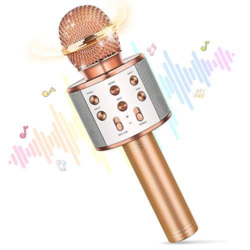 Karaoke Mikrofon,Spielzeug ab 4-12 Jahre Jungen Geschenk Junge 4-12 Jahre Mikrofon Bluetooth Kinder Spielzeug Mädchen Weihnachten Geschenk Kinderspielzeug ab 4-12 Jahre Mädchen Geschenke 4-12 Jahre