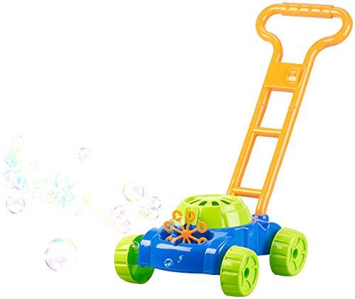infactory Spielzeug außen: Batteriebetriebene Seifenblasen-Maschine im Rasenmäher-Look (Seifenblasen-Automat)