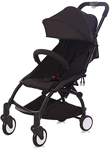 Klappwagen-Kinderwagen-Kinderwagen Ultra-Licht tragbarer, kann ein einfaches Mini-Klapptaschen-Baby-Kleinkind-Kinderwagen-Reisesystem sitzen (Color : Black)