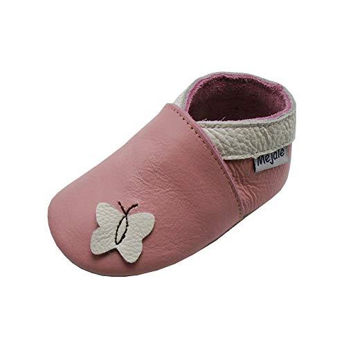 Mejale Weiche Sohle Leder Babyschuhe Lauflernschuhe Krabbelschuhe Kleinkind Kinderschuhe Hausschuhe Karikatur Schmetterling(24-36 Monate, Rosa,XXL)