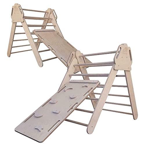 Byeco Pikler Kletterdreieck klappbar Pikler Dreieck Turnhalle + Rutschen und Kletterwand, Spielplatz für Kinder Dreieck Triangle Climbing Set with Ramp
