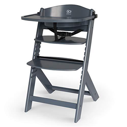 Kinderkraft Kinderhochstuhl aus Holz ENOCK 3 in 1, Niedriger Stuhl, Babystuhl, Abnehmbare Schutzbügel und Gurt, Rückenlehnenverstellung, ab 6 Monaten bis 10 Jahre, Vollgrau