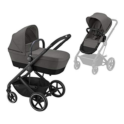 CYBEX Balios S 2-in-1 Kinderwagen, Einhand-Faltmechanismus, Ab Geburt bis 22 kg (ca. 4 Jahre), Soho Grey mit schwarzem Gestell