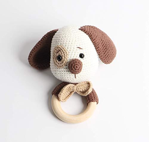 Baby Rassel in Braun - 100% Handarbeit mit Anti-Pilling Garn - Beißring für Babys - Rassel mit Tierdesign als gestrickten Hund