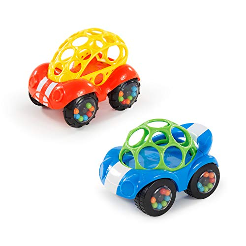 Bright Starts, 81510-12-W11 Oball, Spielzeugauto mit Rassel, 1 Stück, Farblich sortiert