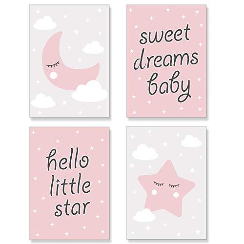 PREMYO Bilder Kinderzimmer Deko Mädchen - Poster Set Babyzimmer - Wandbilder Schlafzimmer Mond Stern Wolken Rosa DIN A4