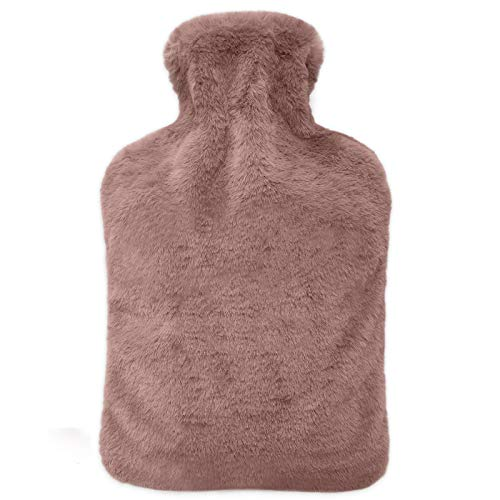FUMUM Premium Wärmflasche mit Bezug, Weich Wärmflasche Klassik 2L mit Plüsch-Bezug,kein Geruch und Frei von Schadstoffen Wärmflasche für Erwachsene Eltern Kinder (Braun)