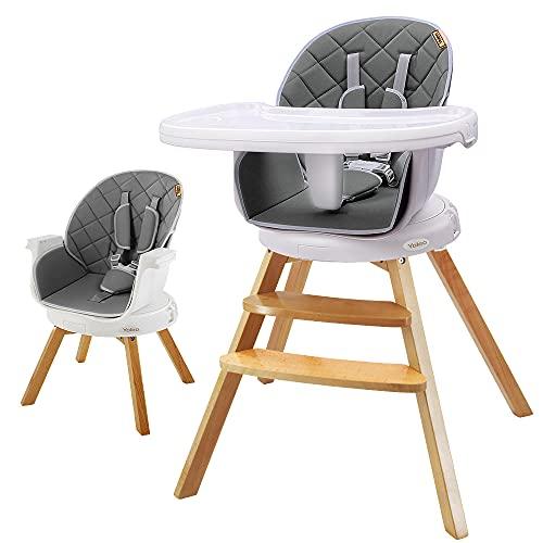 Holz Hochstuhl, 360° Drehbar Kinderhochstuhl für Babz ab 6 Monaten, Kann als Barhocker für Erwachsene verwendet werden (Grau)