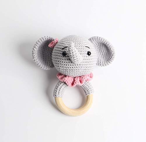 Baby Rassel in Rosa - 100% Baumwolle und 100% Handarbeit mit Anti-Pilling Garn - Beißring für Babys - Rassel mit Tierdesign als gestrickten Elefanten