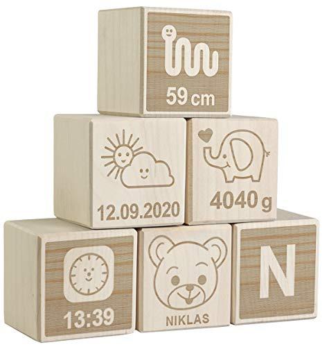 LAUBLUST 6er Set Holzwürfel mit Gravur - Teddybär, Natur - Personalisiertes Geschenk zur Geburt   Erinnerung & Deko