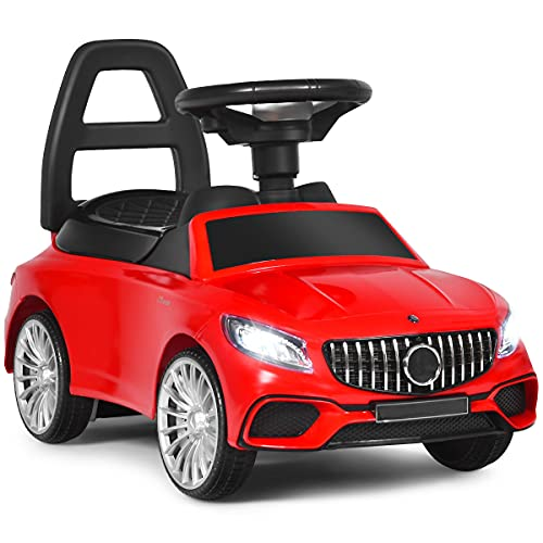 DREAMADE Rutschauto, Rutscher Kinderauto mit Aufbewahrungsbox, Lauflernhilfe, Kinderfahrzeug mit Autolicht, Hupe, Musik, Rückenlehne (Rot)