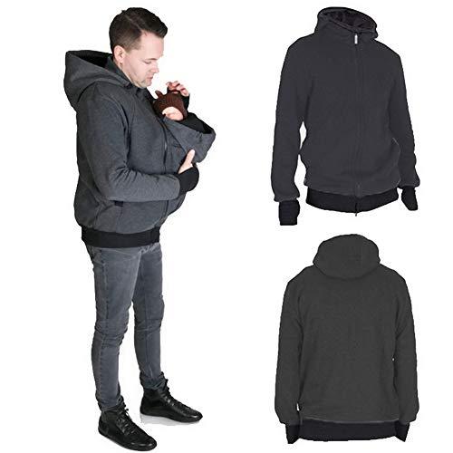 amropi Känguru Hoodie Babytrage Männer Pullover Winter Warme Babytrage Mantel mit Baby Tasche Grau,L