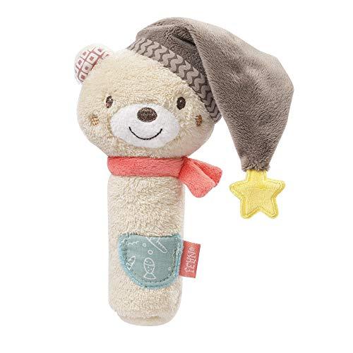 Fehn 060478 Stabgreifling Bär – Stofftier-Begleiter mit Rassel & Quietsche – Für Babys und Kleinkinder ab 0+ Monaten – Größe: 16 cm