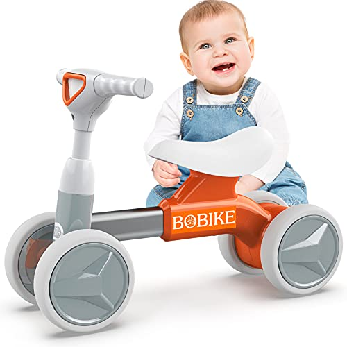 Kinder Laufrad ab 1 Jahr Spielzeug Lauflernrad ohne Pedale mit 4 Räder für 12-36 Monate Baby, Erst Rutschrad Fahrrad für Jungen Mädchen als Geschenke, Orange