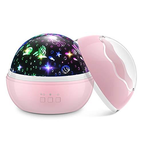 EUCOCO Geschenk Mädchen 1-12 Jahre, Nachtlicht Kinder Halloween Deko Spielzeug ab 1-10 Jahre Mädchen LED Nachtlicht Mädchen 1 2 3 4 5 6 7 8 Jahre Geschenkidee Sternenhimmel Projektor Zimmerdeko Rosa
