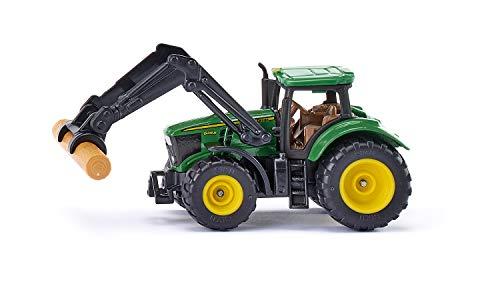 siku 1540, John Deere mit Baumstammgreifer, Metall/Kunststoff, Grün, Inkl. Baumstamm, Beweglicher Frontlader, Anhängerkupplung, Bereifung aus Gummi
