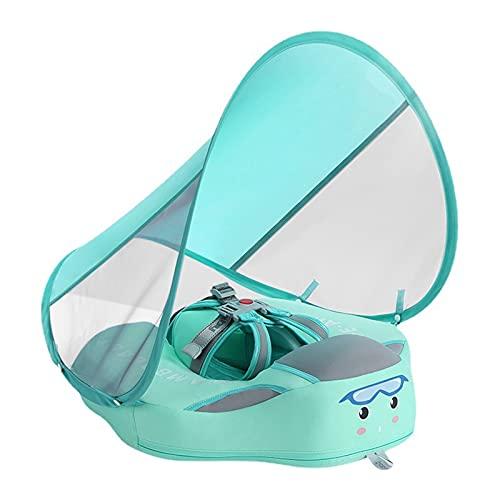 Taloit Baby Schwimmring, Baby Schwimmen Schwimmtrainer mit Sonnendach, Fester, Nicht aufblasbarer Baby- und Kleinkind-Schwimmring, wasserdicht, luftdicht, für den Heimpool