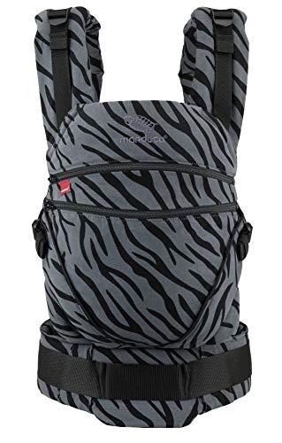 manduca Babytrage XT  Zebra  All-In-One Babytrage für Neugeborene, verstellbarer Sitz, 3 Trage Positionen, Bio-Baumwolle, für Babys von 3,5 bis 20 kg (Limited Edition/Animal Print)