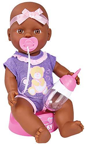 Simba 105030068 - New Born Süßes Baby, Vollvinylpuppe mit Trink- und Nässfunktion, mit Geburtsurkunde und Zubehör, 4 Teile, 30cm, ab 3 Jahren