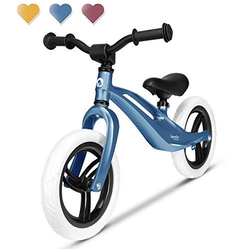 Lionelo Bart Laufrad ab 2 Jahre bis zu 30 kg Magnesiumrahmen 12 Zoll Räder Lenkrad und Sattel höhenverstellbar Lenkradschloss Fußstütze Tragegriff Ultraleicht (Blau)