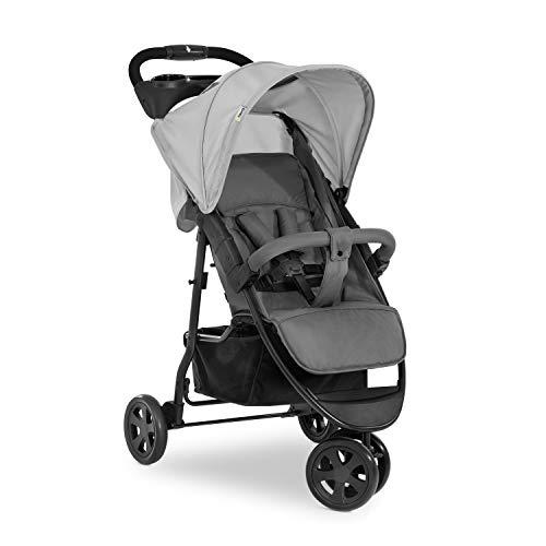 Hauck Dreirad Buggy Citi Neo 3 / Belastbar bis 25 kg / Einhändig Faltbar / Leicht - nur 7,5 kg / inkl. Getränke Halter / mit Liegeposition für Babys und Kinder ab Geburt / XL Korb / Grau