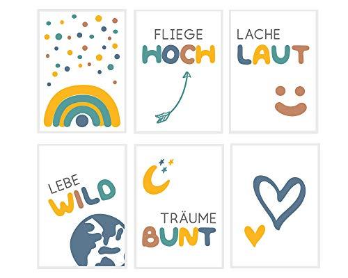 Fabelhafte Dinge Bilder-Set A5 Poster Kinderzimmer Babyzimmer Wandbilder für Jungen und Mädchen Sprüche und Motive bunt Wanddeko (Sprüche deutsch 6 blau, 6)