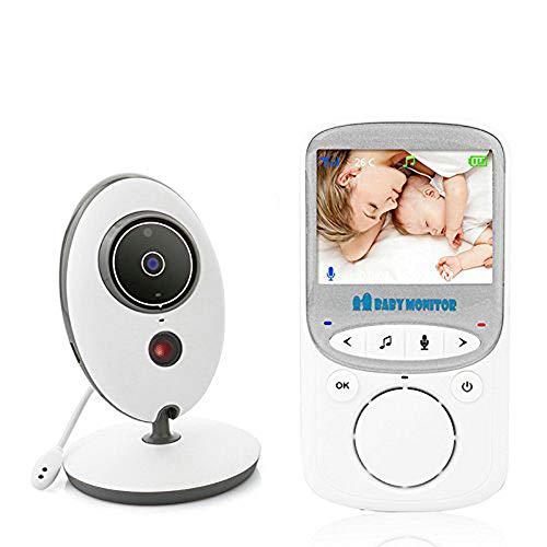 BW Video Baby Monitor Babyphone mit Zwei-Wege-Audio, 2,4 Zoll Display, Raumtemperatur-Monitor, Nachtsicht, 70 Grad Objektiv