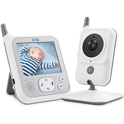 GHB Baby-Monitor Babyphone Kamera 3,2 Zoll LCD 2,4 GHz mit VOX-Funktion Temperatursensor, bidirektionale Nachtsicht, Rückwärtsfunktion