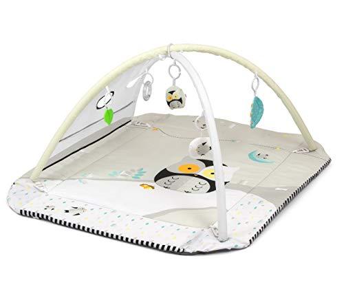 Milly Mally LOLLY Owl 5-in-1 Lernmatte für Babys, ungiftige Bodenmatte zum Spielen, Laufgitter für Kinder mit 5 Spielzeugen, Hypoallergen