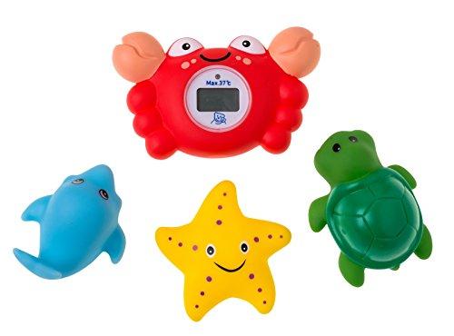 Rotho Babydesign digitales Badethermometer Krabbe mit 3-teiligem Spritztier-Set, Für die ideale Badetemperatur, Mehrfarbig, 20442