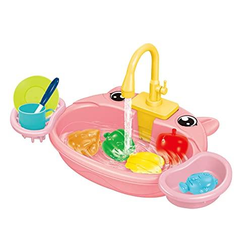 Nrkin Waschbecken Spielzeug Matschküche Kinder, Kids Kitchen Sink Toys Set mit fließendem Wasser Lerngeschenke Jungen Mädchen Simulation Geschirrspüler Arbeitsarmatur & Abfluss Geschenke