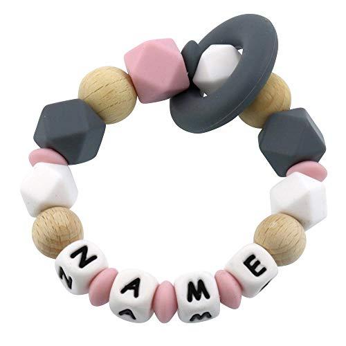 Beißring mit Namen personalisiert aus Silikon und Holz rosa