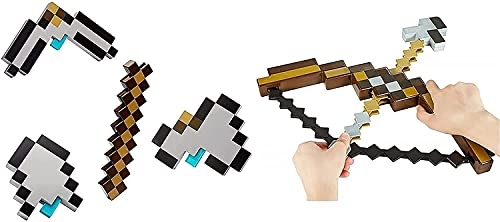 Minecraft Spielzeug und -ausrüstung um, Kinder Bogen und Pfeile, Pixelmosaikbogen und Pfeile, Pixel-Pickoxe, Diamantpixel-Axt, Sportspielzeug, 3 in 1 transformierbarer Spitzhacke, Schaufel und Axt(A)