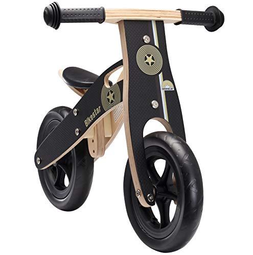 BIKESTAR Kinderlaufrad Lauflernrad Kinderrad für Jungen und Mädchen ab 2 - 3 Jahre | 10 Zoll Kinder Laufrad Holz | Schwarz | Risikofrei Testen