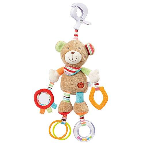 Fehn 091878 Activity-Spieltier Teddy – Motorikspielzeug zum Aufhängen mit Spiegel & Ringen zum Beißen, Greifen und Geräusche erzeugen – Für Babys und Kleinkinder ab 0+ Monaten