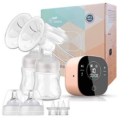 Elektrische Doppelmilchpumpe, Stillpumpe mit 2 Modi und 10 Stufen, ultra-leise wiederaufladbare Milchpumpe für unterwegs und zu Hause