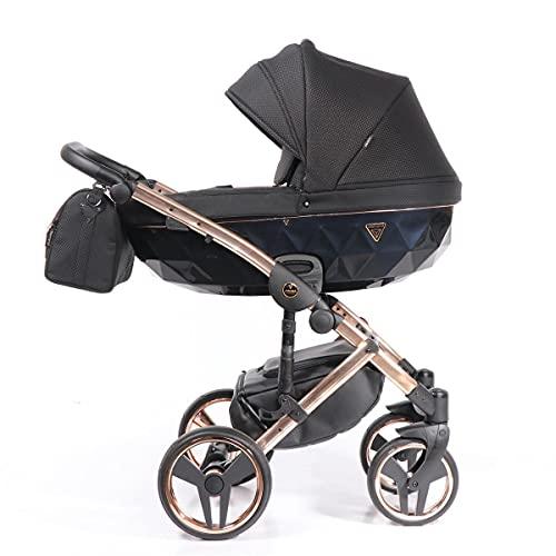Junama Kinderwagen Kombikinderwagen Premium Buggy Babyschale +Zubehör Isofix Wählbar Onyx by Ferriley & Fitz Strong Rose 02 3in1 mit Babyschale