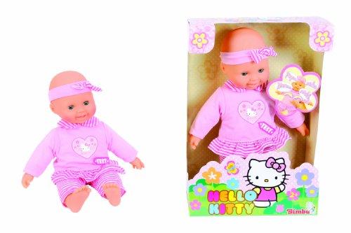 Simba 105147594 - Laura, Hello Kitty Baby-Puppe, 'Erste Worte', 30 cm