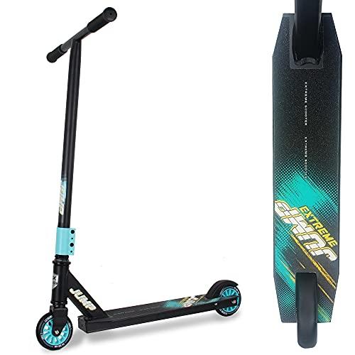 WeLLIFE Freestyle Stunt-Scooter Jump grün für Kinder und Jugendliche, Rad 100 mm, ABEC 7 Kugellager, Lenker 360° drehbar, verstärkte Trittfläche (Black)